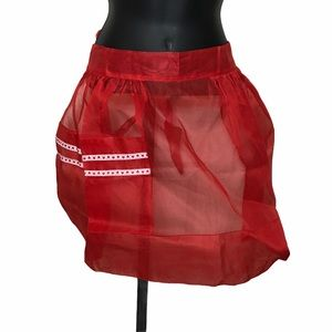Vintage Red Apron Sheer Fancy MCM Hearts 1314